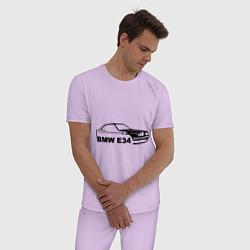 Пижама хлопковая мужская E34 цвета лаванда — фото 2