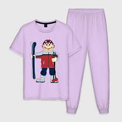 Пижама хлопковая мужская Лыжник цвета лаванда — фото 1