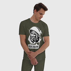 Пижама хлопковая мужская Гагарин: поехали цвета меланж-хаки — фото 2