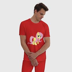 Пижама хлопковая мужская Пони пегас Флаттершай цвета красный — фото 2