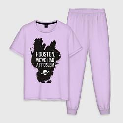 Пижама хлопковая мужская Хьюстон, у нас проблемы цвета лаванда — фото 1