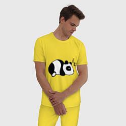 Пижама хлопковая мужская Панда спит цвета желтый — фото 2
