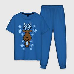 Пижама хлопковая мужская Милый олень и снежинки цвета синий — фото 1