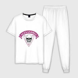 Пижама хлопковая мужская Asking Alexandria: Skull Fang цвета белый — фото 1