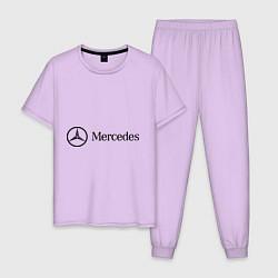 Пижама хлопковая мужская Mercedes Logo цвета лаванда — фото 1