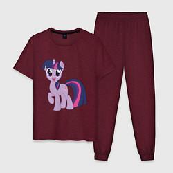 Пижама хлопковая мужская Пони Сумеречная Искорка цвета меланж-бордовый — фото 1