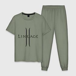 Пижама хлопковая мужская Lineage logo цвета авокадо — фото 1