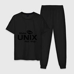 Пижама хлопковая мужская Make unix, not war цвета черный — фото 1