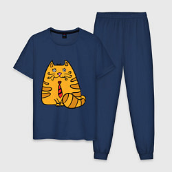 Пижама хлопковая мужская Котик жених цвета тёмно-синий — фото 1