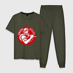 Пижама хлопковая мужская Пожарная охрана цвета меланж-хаки — фото 1
