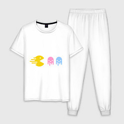 Пижама хлопковая мужская Pac-Man: Fast Eat цвета белый — фото 1