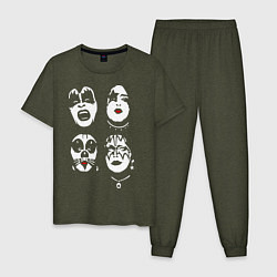 Пижама хлопковая мужская Kiss Faces цвета меланж-хаки — фото 1