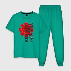 Пижама хлопковая мужская Red Hot Chili Peppers цвета зеленый — фото 1