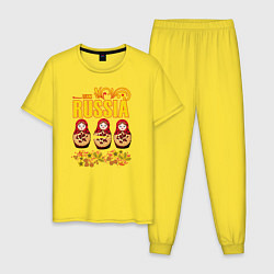 Пижама хлопковая мужская National team Russia цвета желтый — фото 1