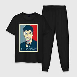Пижама хлопковая мужская Allons-y Poster цвета черный — фото 1