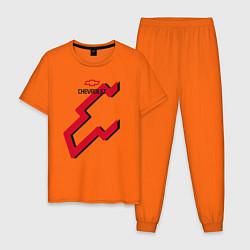 Пижама хлопковая мужская Chevrolet цвета оранжевый — фото 1