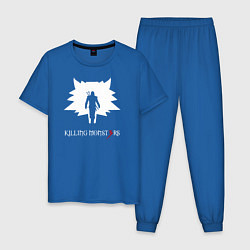 Пижама хлопковая мужская Killing monsters цвета синий — фото 1