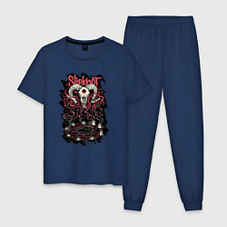Пижама хлопковая мужская Slipknot Pentagram цвета тёмно-синий — фото 1