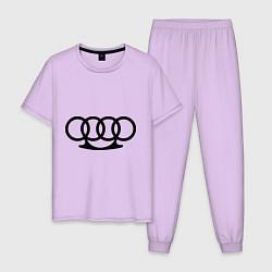 Пижама хлопковая мужская Audi кастет цвета лаванда — фото 1