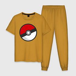 Пижама хлопковая мужская Pokeball цвета горчичный — фото 1
