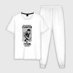 Пижама хлопковая мужская Mike Tyson Undefeated цвета белый — фото 1