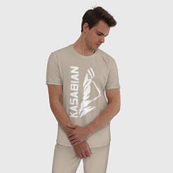Пижама хлопковая мужская Kasabian цвета миндальный — фото 2