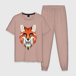 Пижама хлопковая мужская Дизайнерская лиса цвета пыльно-розовый — фото 1