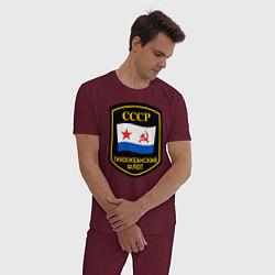 Пижама хлопковая мужская Тихоокеанский флот СССР цвета меланж-бордовый — фото 2