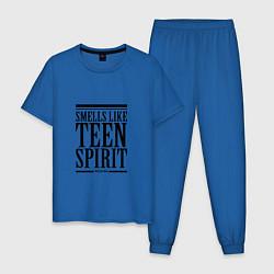 Пижама хлопковая мужская Smells like teen spirit цвета синий — фото 1