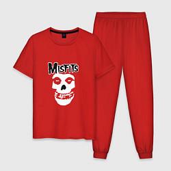 Пижама хлопковая мужская Отбросы цвета красный — фото 1
