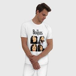 Пижама хлопковая мужская The Beatles Stories цвета белый — фото 2