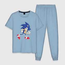 Пижама хлопковая мужская Sonic the Hedgehog цвета мягкое небо — фото 1