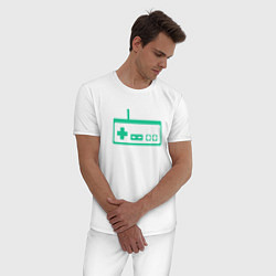 Пижама хлопковая мужская GamePad Nintendo classic цвета белый — фото 2