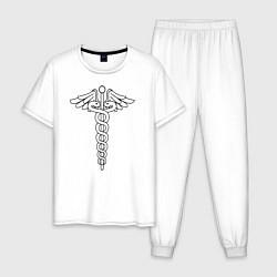 Пижама хлопковая мужская Эмблема цвета белый — фото 1
