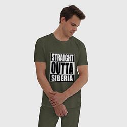 Пижама хлопковая мужская Straight Outta Siberia цвета меланж-хаки — фото 2