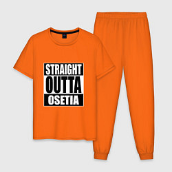 Пижама хлопковая мужская Straight Outta Osetia цвета оранжевый — фото 1
