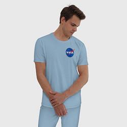 Пижама хлопковая мужская NASA цвета мягкое небо — фото 2