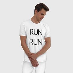 Пижама хлопковая мужская BTS: RUN RUN цвета белый — фото 2