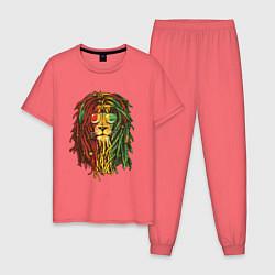 Пижама хлопковая мужская Rasta Lion цвета коралловый — фото 1