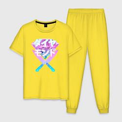 Пижама хлопковая мужская Vapor: Neon Diamond цвета желтый — фото 1