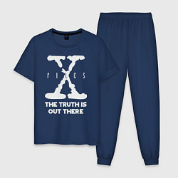 Пижама хлопковая мужская X-Files: Truth is out there цвета тёмно-синий — фото 1