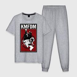 Пижама хлопковая мужская KMFDM 2013 цвета меланж — фото 1