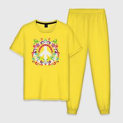 Пижама хлопковая мужская Peace цвета желтый — фото 1