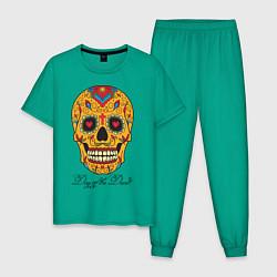 Пижама хлопковая мужская Мексиканский череп цвета зеленый — фото 1