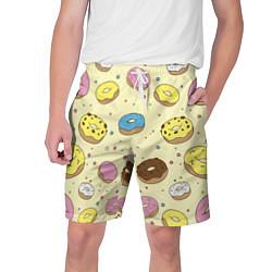 Шорты на шнурке мужские Сладкие пончики цвета 3D — фото 1