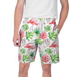 Шорты на шнурке мужские Фламинго в тропиках цвета 3D — фото 1