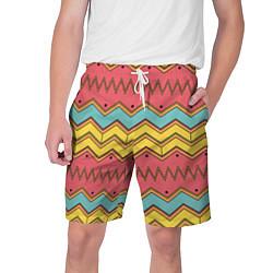 Шорты на шнурке мужские Цветные зигзаги цвета 3D — фото 1