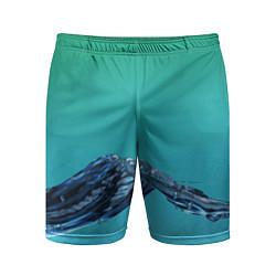 Шорты спортивные мужские Зеленая вода цвета 3D — фото 1