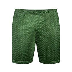 Шорты спортивные мужские Змеиная зеленая кожа цвета 3D — фото 1