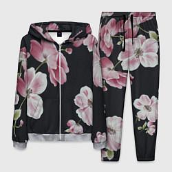 Костюм мужской Цветы на черном фоне цвета 3D-меланж — фото 1